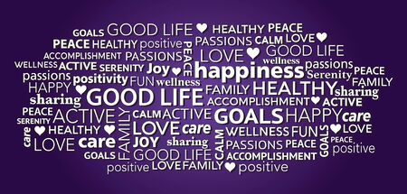 Good life and positivity concept word tag cloud collage