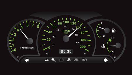 게이지 벡터가 있는 검정 및 네온 녹색 클래식 자동차 대시보드