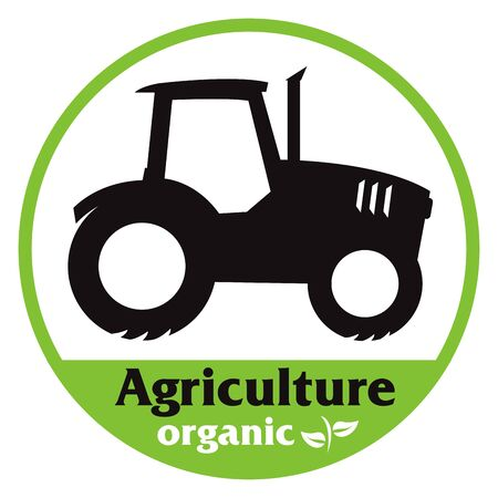 Organic agriculture icon symbol vector with a tractor silouhette Illustration
