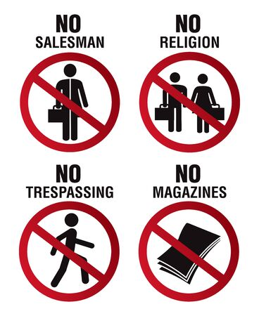 No soliciting no religion no trepassing and no magazines sign