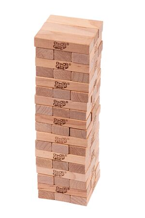 Sorel-Tracy, Canada-05 January 2020 : Jenga genuine Hardwood Game blocks tour isolated on white background