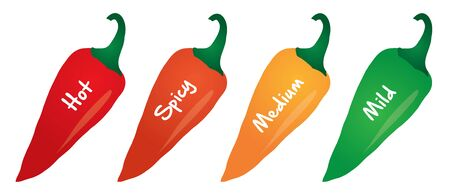 spicy food level vector label illustration
