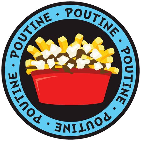 Poutine canadian dish made of fries potatoes gravy and cheese vector illustration
