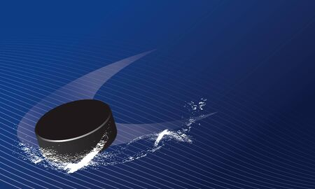 Hockey puck spining on ice abstract background vector Иллюстрация