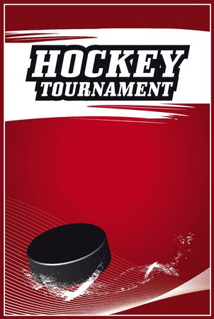 Hockey Tournament red poster vector design with a puck spinning on ice  Stock Illustratie