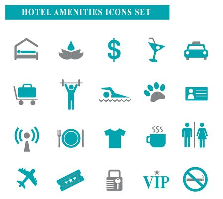 Hotel amenities turquoise and grey symbol icons set symbols