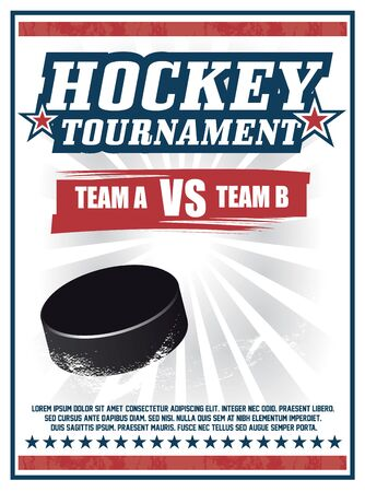 Vintage Hockey Tournament red poster vector design with a puck spinning on ice