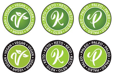 Vegan paleo and keto diet vector illustration symbol with the V shape and the leaves.