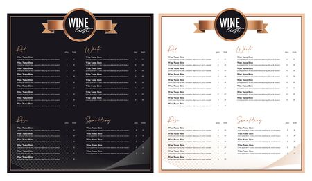 Wine list menu card black and white option design vector, two seperate layer text and background. Main text font is Times Standard-Bild - 138833566
