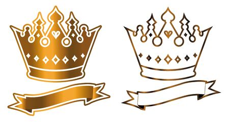 Gold shiny luxurious crown with ribbon logo vector template