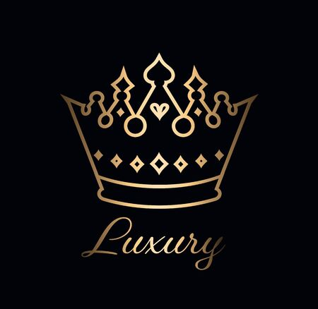 Gold shiny luxury crown logo vector template Иллюстрация