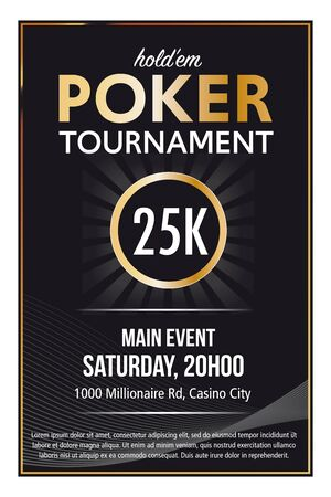 Casino Poker Tournament  poster template design in vector with layer and text outlined  version 10