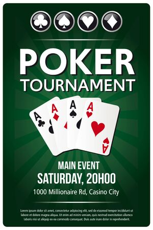 Casino Poker Tournament green background poster template design in vector with layer and text outlined  version 10