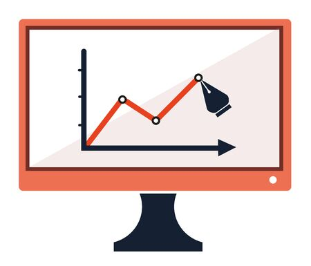 Success chart stats drawing pen on computer screen concept icon symbol vector