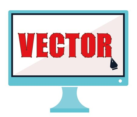 vector illustration drawing pen on computer screen icon concept