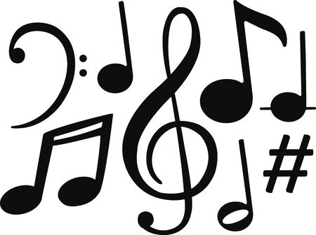black music notes symbols vector  Иллюстрация
