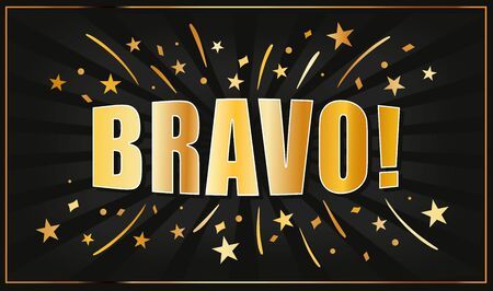 Bravo text golden banner Vector illustration