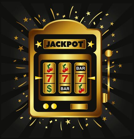gold jackpot casino slot machine illustration vector  Иллюстрация