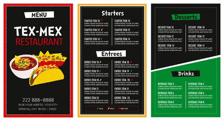Mexican Restaurant menu layout modern design template with spicy level symbols main font is futura vector Иллюстрация