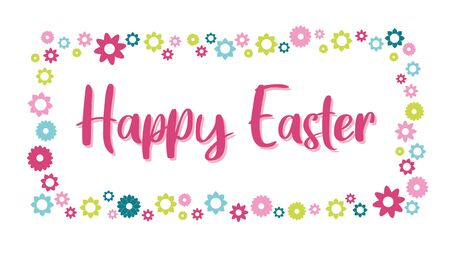 Happy easter day cute floral frame vector illustration Иллюстрация