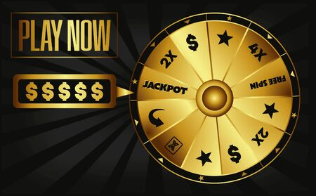 gold jackpot casino fortune wheel illustration vector invitation play now