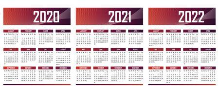English modern Calendar 2020-2021-2022 vector