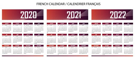 French language color calendar for year 2020 2021 2022 vector text is outline