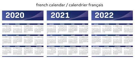 French modern techno calendar for years 2020-2021-2022 vector text is outline