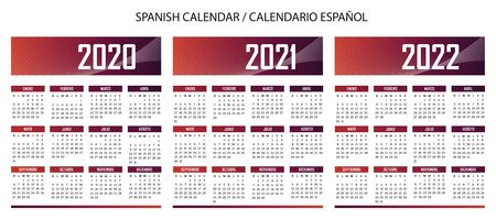 Spanish language techno Calendar 2020-2021-2022 vector text is outline Иллюстрация