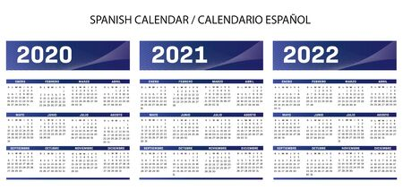 Spanish language text blue Calendar 2020-2021-2022 vector text is outline