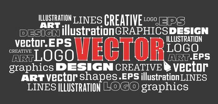 Vector drawing pen tool concept illustration word cloud Иллюстрация