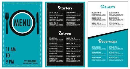 Restaurant menu turquoise modern design template main font is futura Çizim