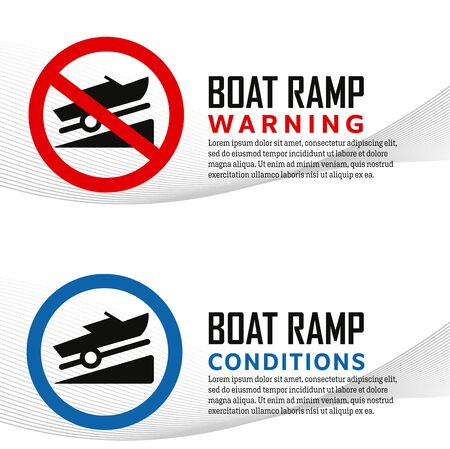 Boat ramp launch icons warning and conditions signs
