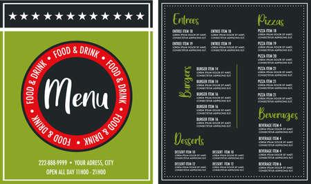 Restaurant two side menu card modern design layout template