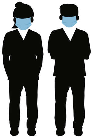 silhouette of woman and man standing up wearing face mask
