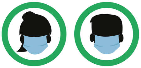 face mask requirement symbol male and female vector