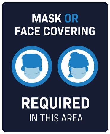 face covering required in this building covid-19 protection sign male and female icons