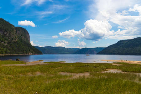 Saguenay Fjord national park Quebec Canada summer landscape of the water and mountains Imagens