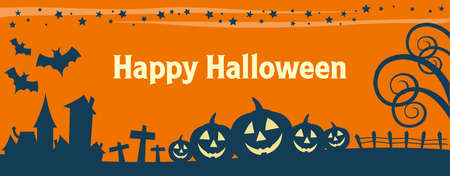 Happy Halloween holiday banner illustration design text outline Ilustração