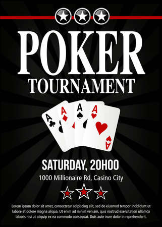 Poker tournament event invitation poster design in vector with layers