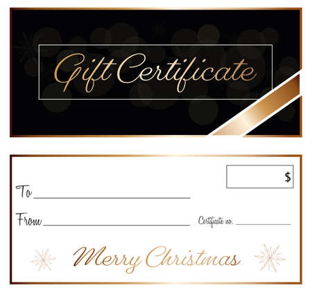 black and gold elegance gift certificate christmas design vector front and back