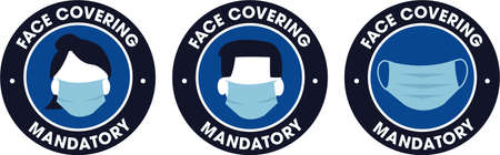 face covering mandatory icons sign covid-19 protection male female and neutral symbols Ilustração