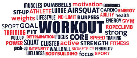 workout tag word cloud concept text is outline