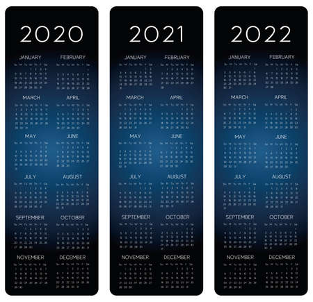Vertical row Calendar 2020-2021-2022 vector text is outline font is armata