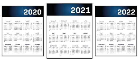 English modern classic calendar for years 2020-2021-2022 vector text is outline