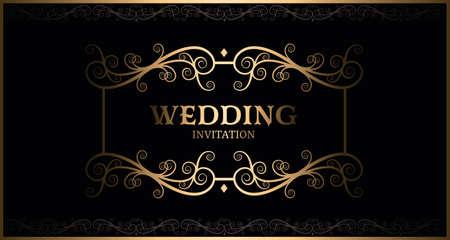 luxury black and gold vintage wedding invitation card vector Ilustração