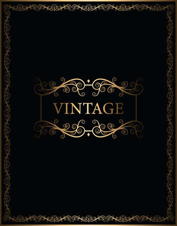 luxury black and gold vintage frame vector cover