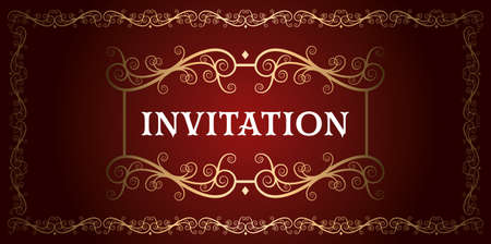invitation royal luxury red and gold vintage ornamental  frame vector Ilustração