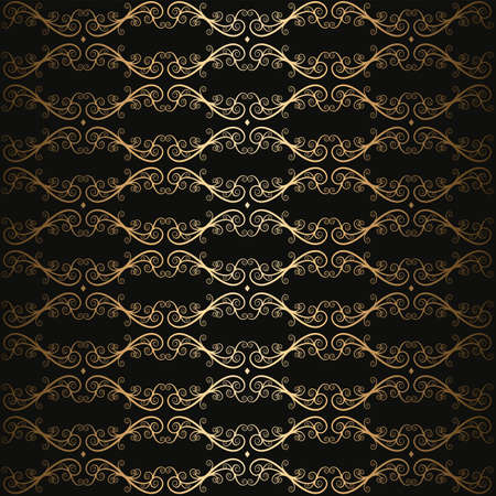 floral swirl luxury black and gold seamless pattern vector Ilustração