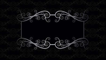 black and silver Victorian lace luxury floral  swirl pattern frame